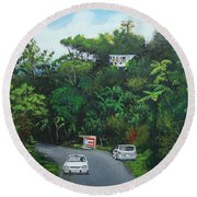 Traveling In Adjuntas Mountains Round Beach Towel