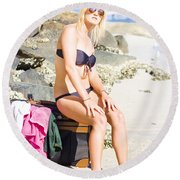Round Beach Towel featuring the photograph Traveling Tourist With Suitcase On Beach Vacation by Jorgo Photography - Wall Art Gallery