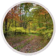 Travels Through Autumn Round Beach Towel