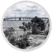 Round Beach Towel featuring the photograph Traversing The Chesapeake by T Brian Jones