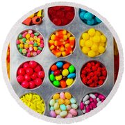 Tray Full Of Candy Round Beach Towel