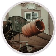 Round Beach Towel featuring the photograph Trdelnik. Prague Architecture by Jenny Rainbow