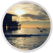 Seagull Pier Sunrise Seascape C1 Round Beach Towel