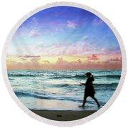 Treasure Coast Florida Seascape Dawn D6 Round Beach Towel