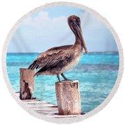 Treasure Coast Pelican Pier Seascape C1 Round Beach Towel