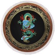 Treasure Trove - Turquoise Dragon Over Red Velvet Round Beach Towel by Serge Averbukh