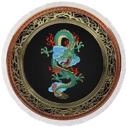 Treasure Trove - Turquoise Dragon Over White Leather Round Beach Towel by Serge Averbukh