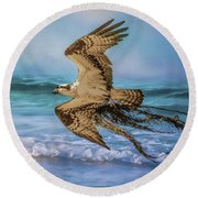 Treasures For The Nest Osprey Art Round Beach Towel by Jai Johnson