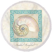 Treasures From The Sea - Nautilus Shell Interior Round Beach Towel