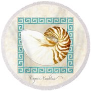 Treasures From The Sea - Tiger Nautilus Shell Round Beach Towel
