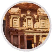 Round Beach Towel featuring the photograph Treasury Of Petra In Color by Mae Wertz