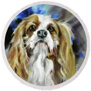 Round Beach Towel featuring the painting Treat Expectations by Rae Andrews