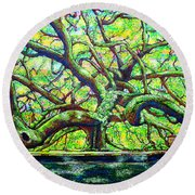 Treaty Oak /part Two/ Round Beach Towel