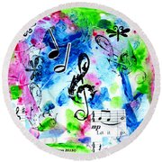 Round Beach Towel featuring the mixed media Treble Mp by Genevieve Esson