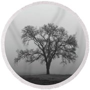Tree Alone In The Fog Round Beach Towel
