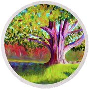 Tree At Hill-stead Museum Round Beach Towel