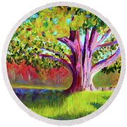 Tree At Hill-stead Museum Round Beach Towel by Polly Castor