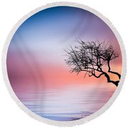 Tree At Lake Round Beach Towel by Bess Hamiti