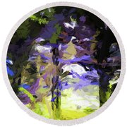 Tree Avenue Lavender Lilac Green Round Beach Towel