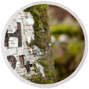 Tree Bark Graffiti - H 04 Round Beach Towel