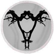 Tree Bird I Bw Round Beach Towel
