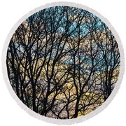 Round Beach Towel featuring the photograph Tree Branches And Colorful Clouds by James BO Insogna