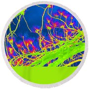 Tree Branches In Vivid Color Round Beach Towel