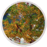 Tree By The Bridge Round Beach Towel