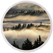 Trees In The Clouds Round Beach Towel