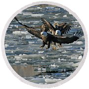 Tree Eagles On Ice Round Beach Towel