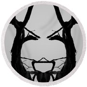 Tree Face I Bw Sq Round Beach Towel