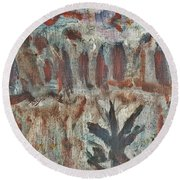 Tree Facing Frozen Lake With Roiling Storm Clouds Rolling In From The Mountain Range Winter With Fal Round Beach Towel