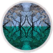 Tree Gate Between Water And Sky Worlds Round Beach Towel