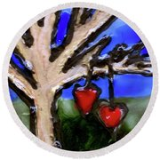 Round Beach Towel featuring the painting Tree Hearts by Genevieve Esson