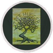 Round Beach Towel featuring the drawing Tree Hugger Love Tree by Aaron Bombalicki
