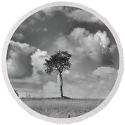 Round Beach Towel featuring the photograph Tree In A Field by Guy Whiteley