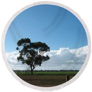Tree In Field Round Beach Towel