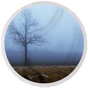 Tree In Fog 9954 Round Beach Towel