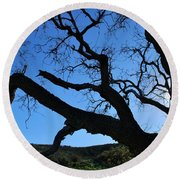 Tree In Rural Hills - Silhouette View Round Beach Towel