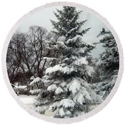 Tree In Snow Round Beach Towel