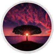 Tree In Sunset Round Beach Towel