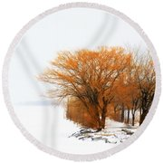 Tree In The Winter Round Beach Towel
