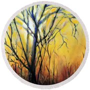 Round Beach Towel featuring the painting Tree In Thicket by Jodie Marie Anne Richardson Traugott          aka jm-ART