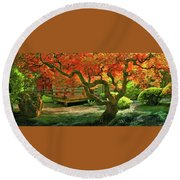 Tree, Japanese Garden Round Beach Towel by Marius Sipa