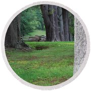 Round Beach Towel featuring the photograph Tree Line by Eric Liller