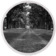 Tree-lined Carriageway Round Beach Towel