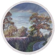 Round Beach Towel featuring the painting Tree Lined Countryside Road by Martin Davey