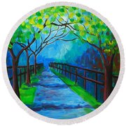 Tree Lined Fence Round Beach Towel