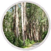 Tree Lined Mountain Road Round Beach Towel