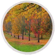 Tree Lined Path With Fall Foliage Round Beach Towel